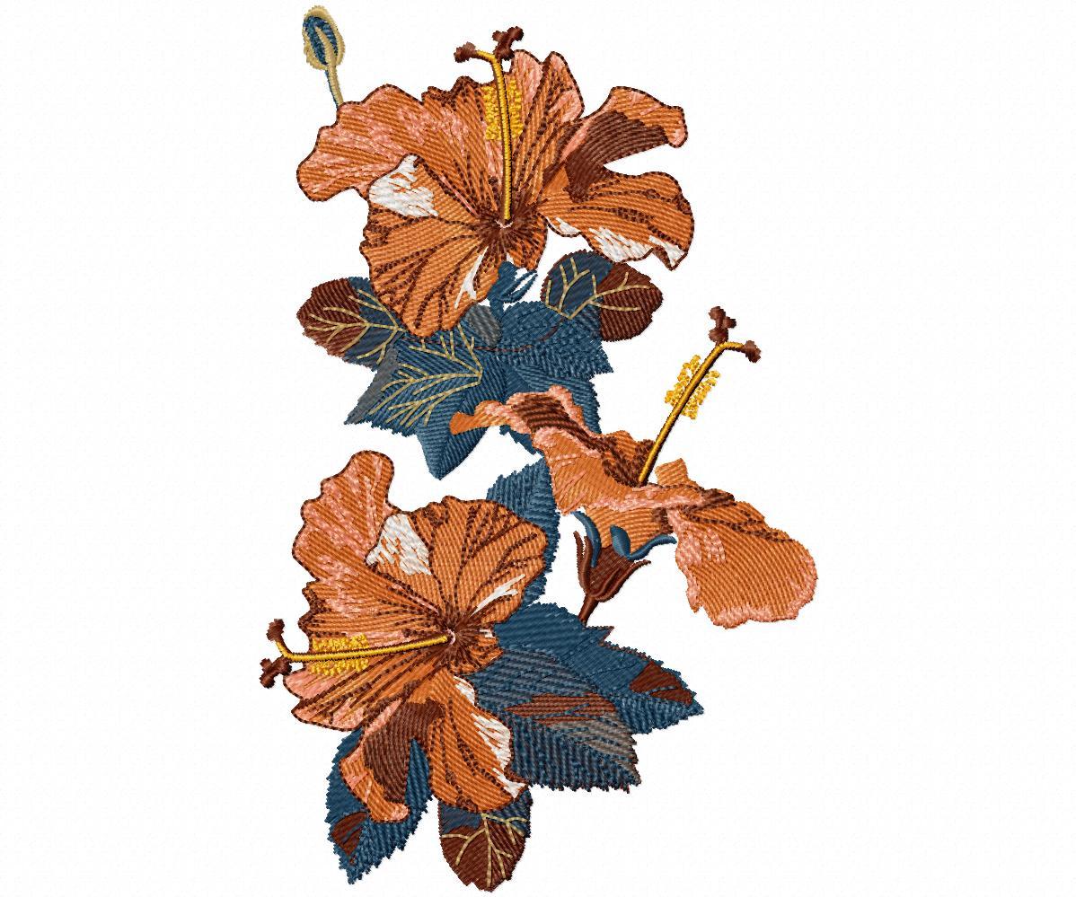 Цветы гладью на джинсы-14