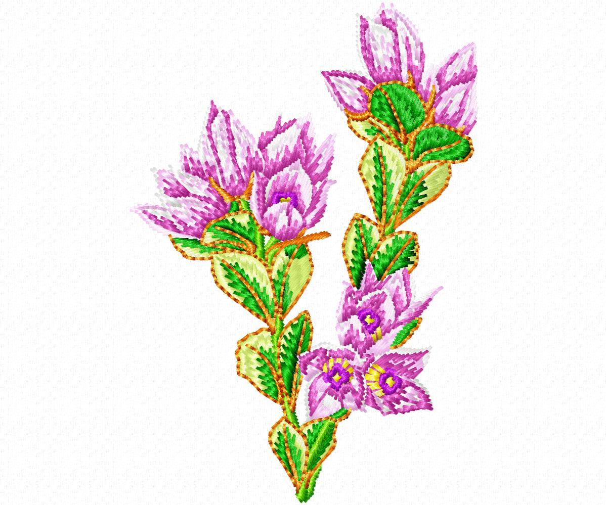 Цветы гладью на джинсы-9