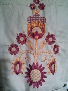 Украшение вышивкой. Орнамент на спинку пиджака летнего