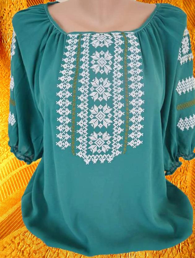 Блуза ''Незабудка'' на бирюзе