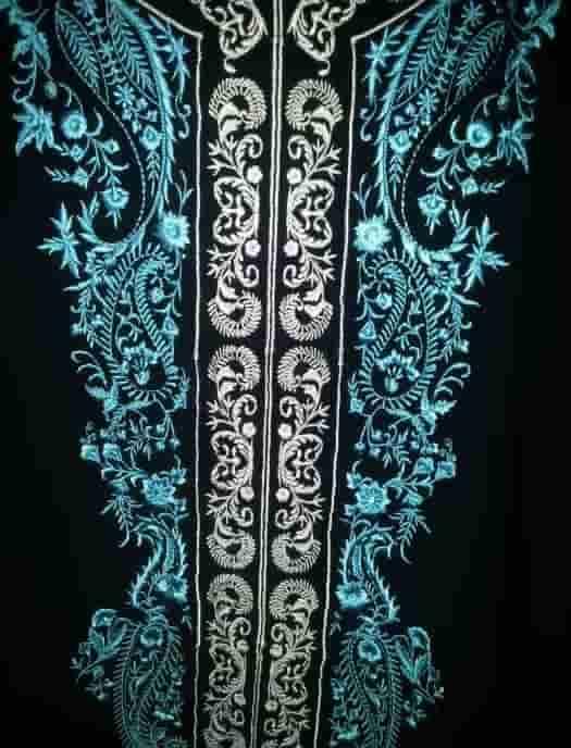 Перёд блузы бирюзово-чёрной