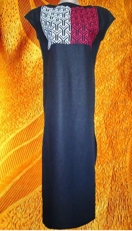 Платье льняное ''Контраст'', в пол. Геометрический орнамент, вышивка крестом