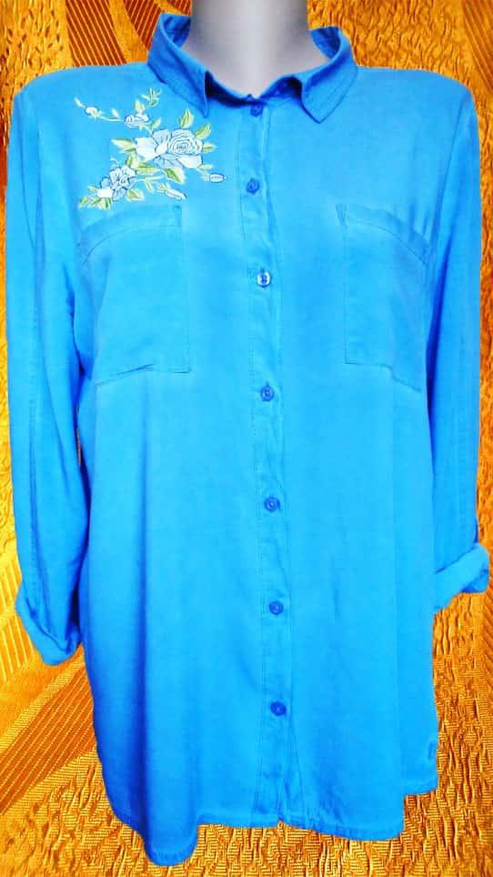 Рубашка джинсовая. Растительный орнамент. Вышивка гладью