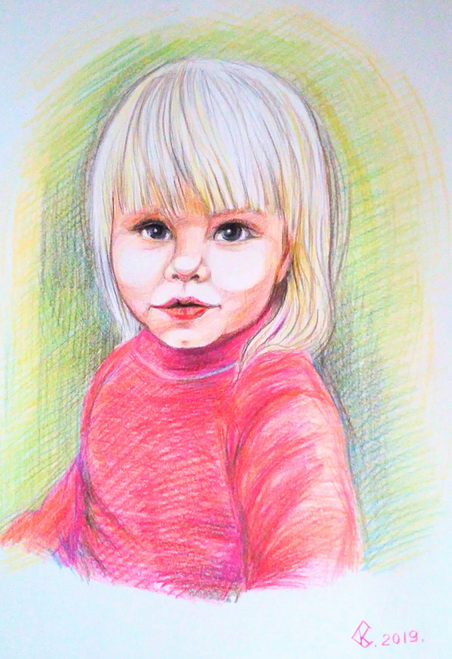 Портрет девочки. Цветные карандаши
