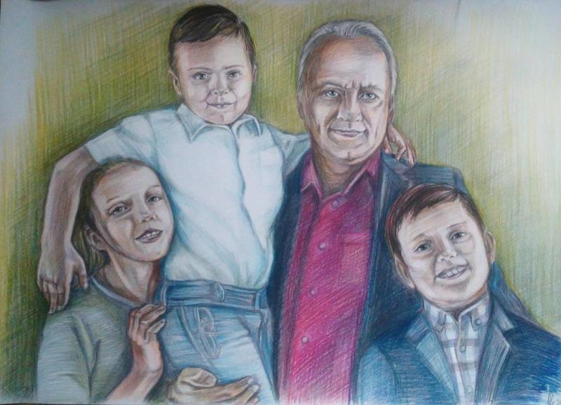 Дед и внуки. Портрет цветными карандашами