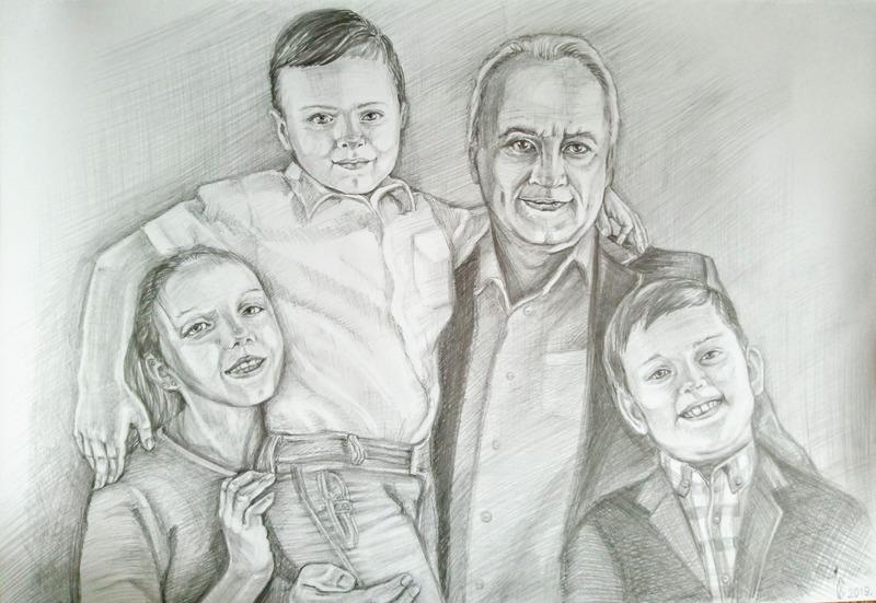Дед и внуки. Портрет карандашом