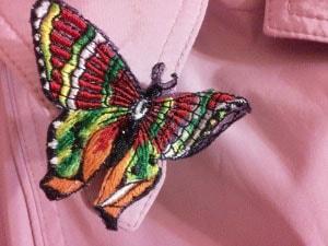 Бижутерия вышитая. Бабочка ''Бордо''