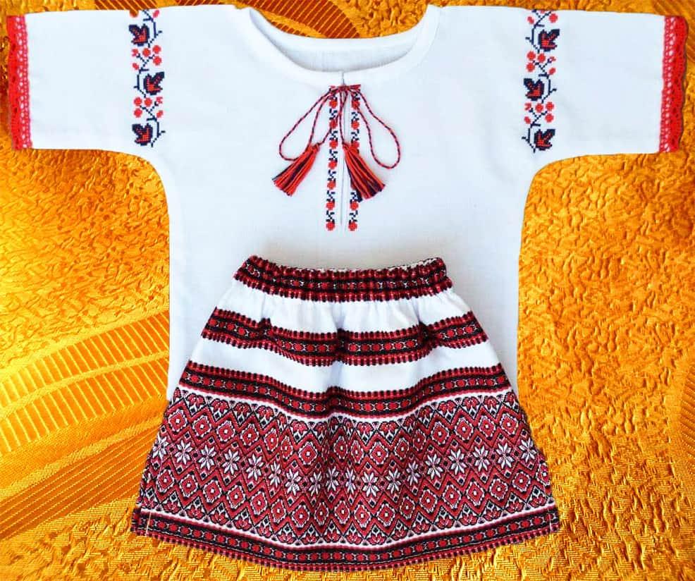 Крестильный набор для девочки с юбкой ''Ягодка''