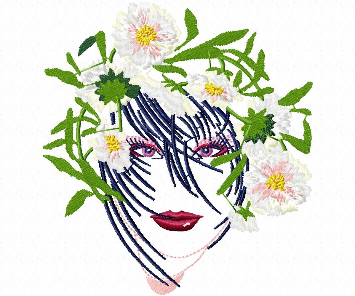 Лицо девушки в цветах-8