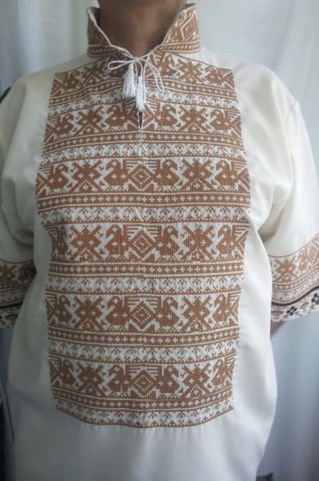 Славянская вышиванка с коротким рукавом