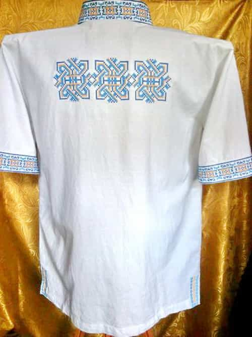 Сорочка с накладными карманами (спинка)