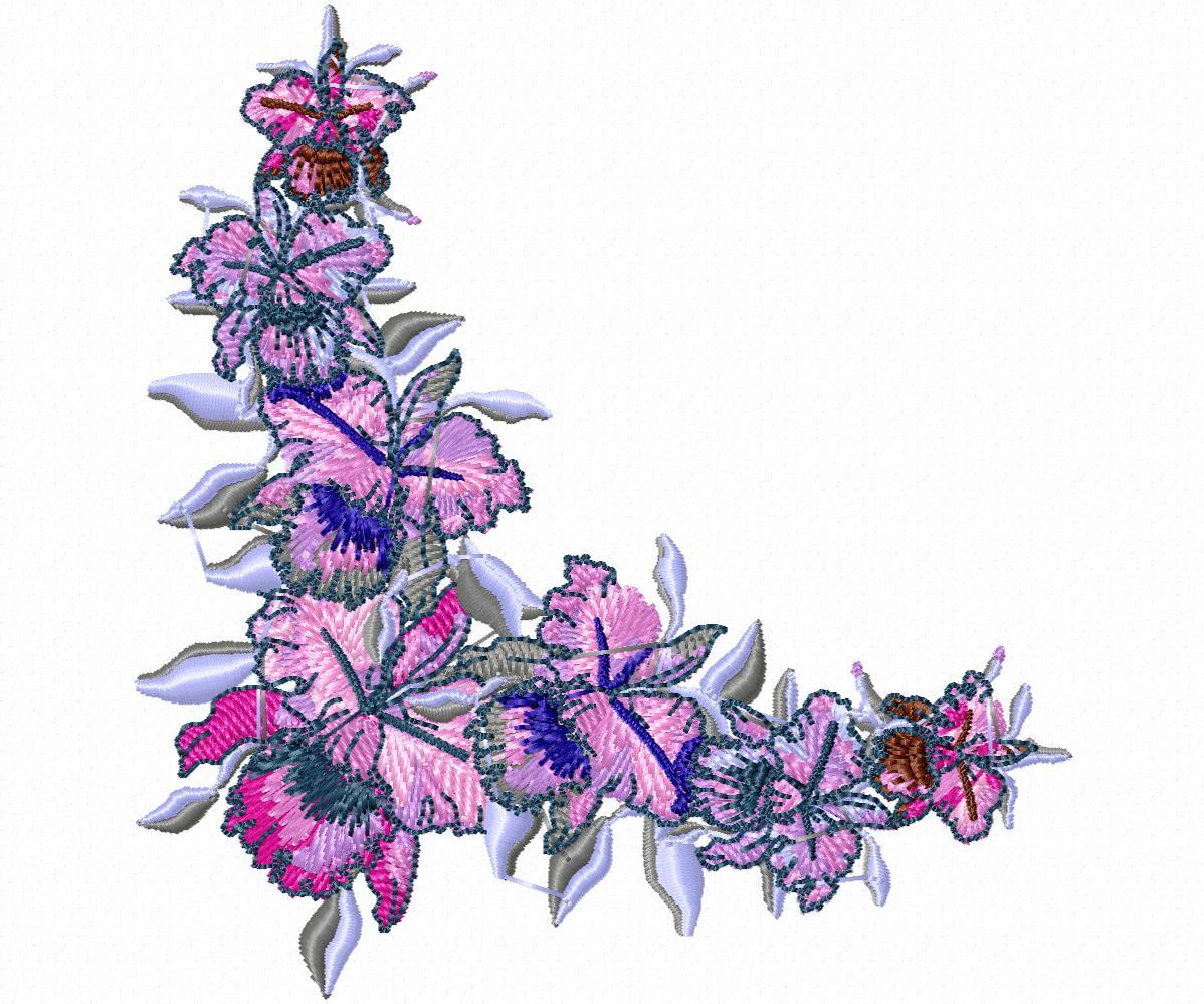 Цветы гладью на джинсы-17