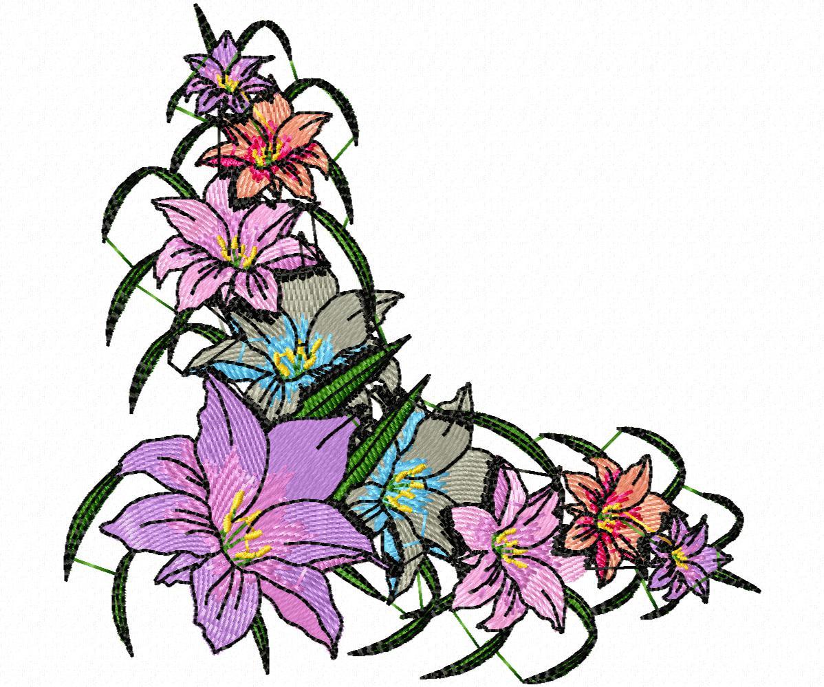 Цветы гладью на джинсы-51