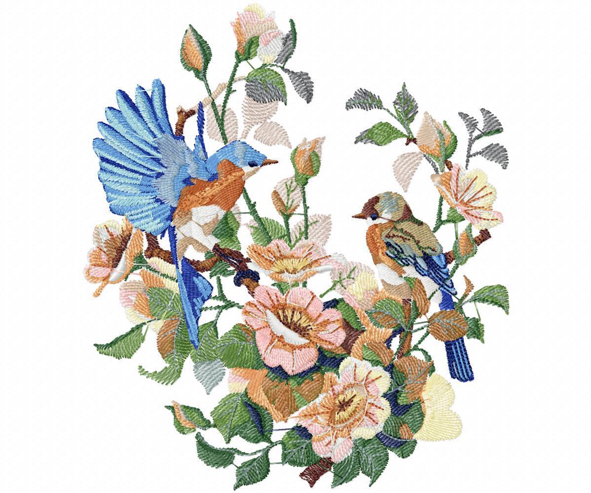 Цветы гладью на джинсы с птичками