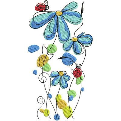 Цветы гладью на джинсы