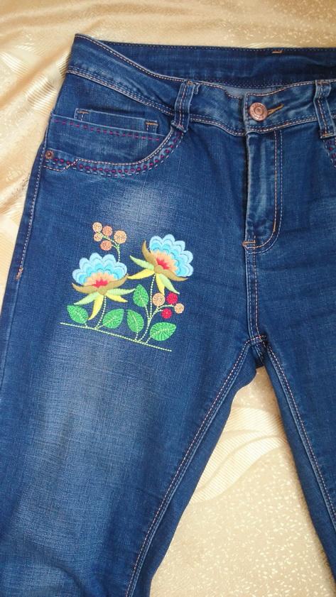 Вышивка гладью на готовых джинсах'' Петріківка''