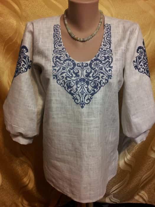 Блуза серая льняная