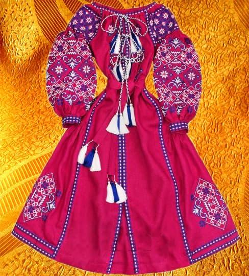 Довга сукня з клинами (бордо)