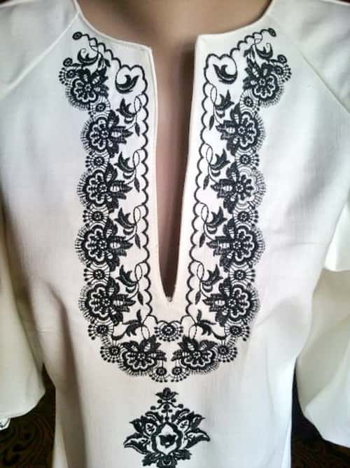 Пазуха платья джинсового. Черным по белому
