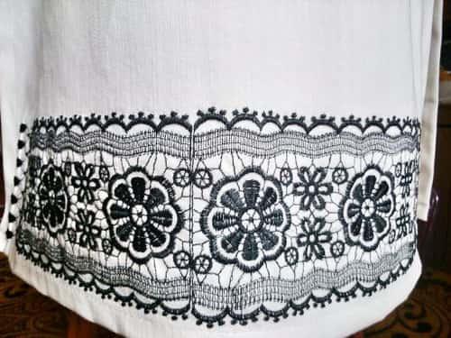 Подол платья джинсового. Черным по белому