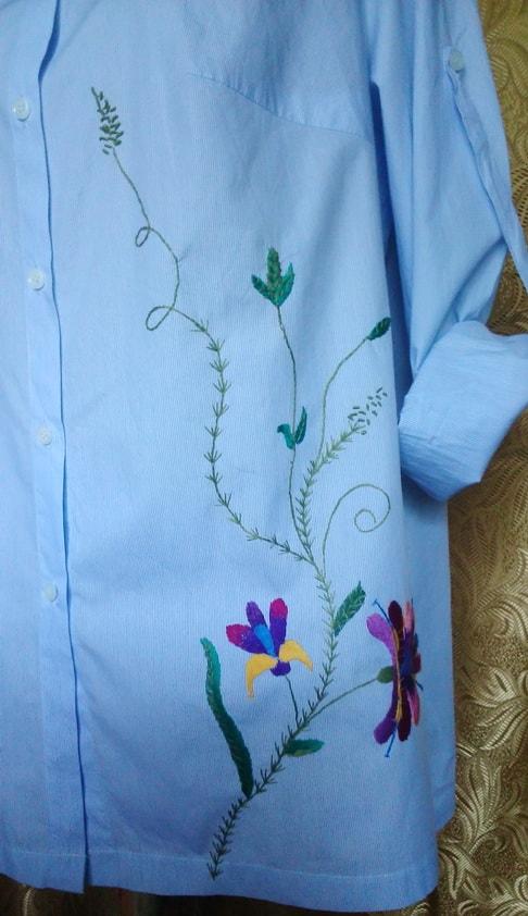 Рубашка с вышивкой ручной работы ''Ирина'' (передняя часть)