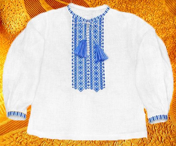 Сорочка для мальчика ''Васильковая''