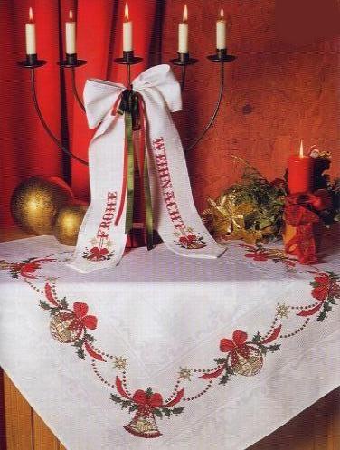 Скатерть рождественская в тёплых тонах