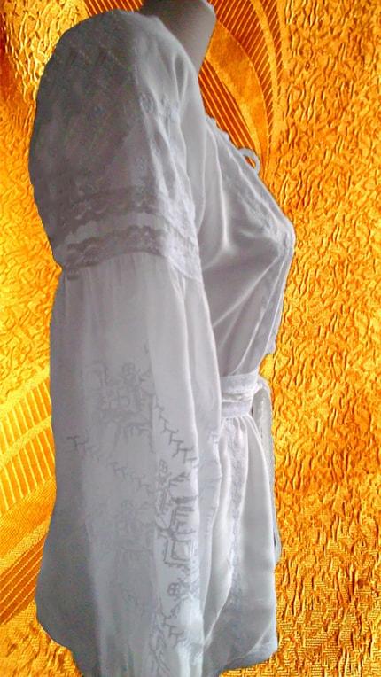 Вышивка белым по белому на маркизете (рукав)