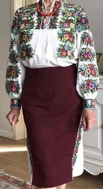 Юбка бордо с клиньями под борщивскую сорочку