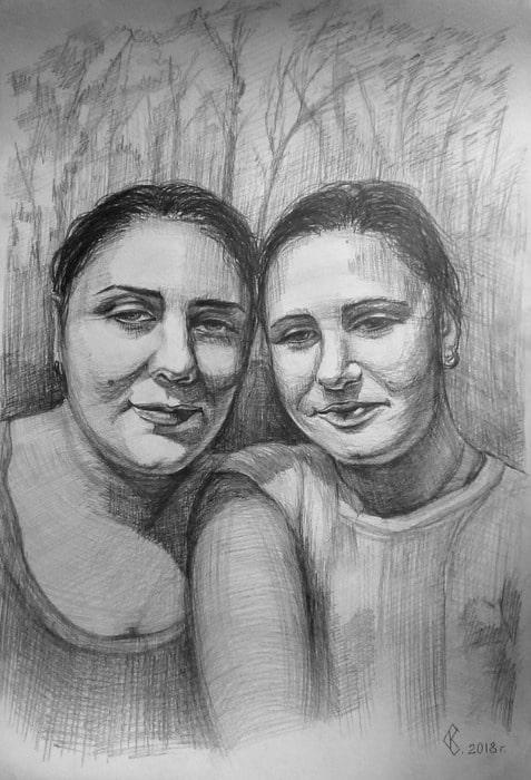 Портрет мамы и дочери
